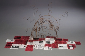 """Not Here Now, 2012, metal, transparency paper and textiles, 30"""" x 60"""" x 22"""""""